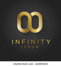 Gold infinity logo template. Vector graphic element.