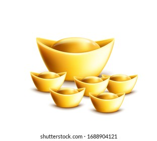 Gold ingot ancient symbol of prosperity and riches in Chinese culture, set of 3d realistic vector illustrations in different sizes isolated on white background.