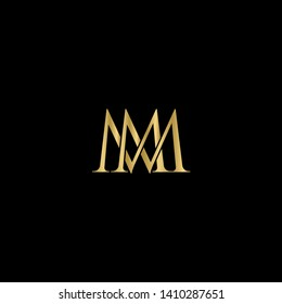 Gold initial letters M MM linked monogram logo vector. Business logo monogram with two overlap letters isolated on   background.