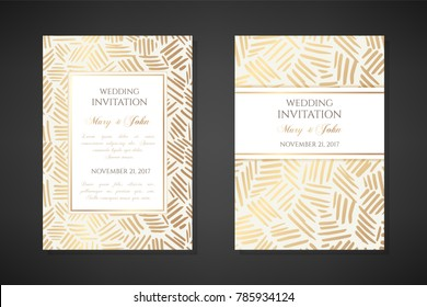 Gold ink lines. Wedding invitation templates. Cover design with ornaments. Vector decorative backgrounds with copy space.