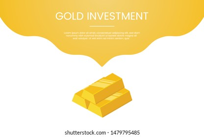 gold investment finance concept theme for template banner or landing homepage infographics - vector
