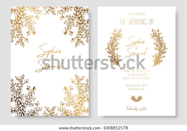 Gold invitation with floral branches. Gold cards templates for save the date, wedding invites, greeting cards, postcards