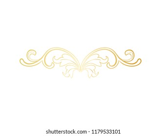 Gold Isolated plant with leaves decorations. Italian flourish baroque ornate for wedding or christmas, certificate. Yellow floral crown or golden wreath. Luxury and victorian, royal and headpiece