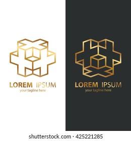 Gold isometric cube logo design template. Line design template logotype. Vector illustration.