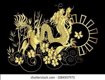 Gold Japanese Dragon and Heron bird with Sakura floer on cloud background.colorful Chinese tattoo design.
