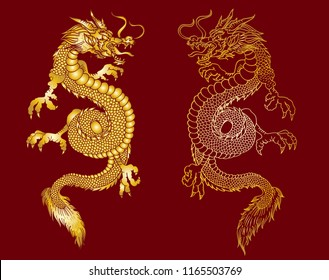 Gold Japanese dragon tattoo.Gold pattern.Golden Dragon on red background for Chinese New Year.Gold Chinese Dragon vector. Gold line art King Dragon tattoo.