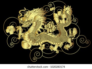 Gold Japanese Dragon for wallpaper and background.Golden dragon with Lotus,hibiscus and Sakura flower on black cloud.