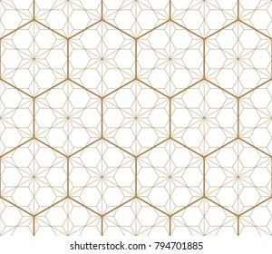 Gold Japanese pattern vector. Geometric hexagon shape background.