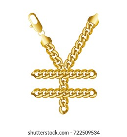 Gold Japanese yen or Chinese yuan money sign made of shiny thick golden chains with a lobster claw clasp lock. Realistic vector detailed illustration isolated on a white background.