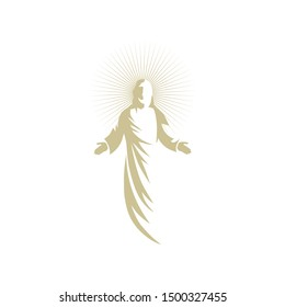 Gold Jesus Christ, son of God with a halo around his head, vector logo icon