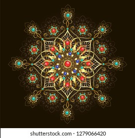 Gold jewelry mandala, decorated with turquoise, jasper and lapis lazuli on dark brown background.