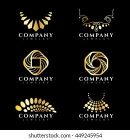 Gold jewelry and necklace logo vector set design
