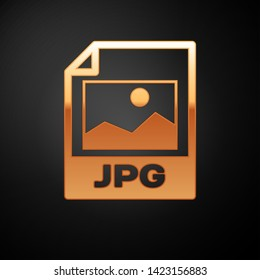 Gold JPG file document icon. Download image button icon isolated on black background. JPG file symbol. Vector Illustration