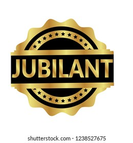 Gold Jubilant distress rubber seal.circle rubber stamp with the text jubilant.golden rubber stamp
