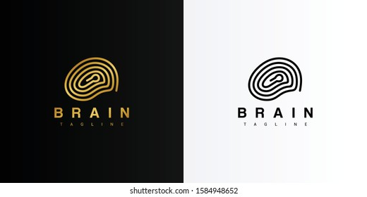 Gold key hole brain logo. Modern logo icon template vector design