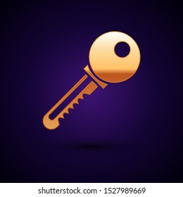 Gold Key icon isolated on dark blue background.  Vector Illustration