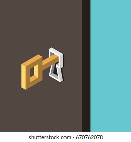 Gold key in keyhole and wooden door opening on turquoise blue background. Success, solution, opportunity and safety concept. Flat design. EPS 8 vector illustration, no transparency, no gradients