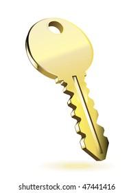 Gold key. Vector illustration isolated on white background