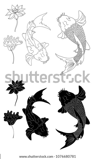 Gold Koi Fish Lotus Flower Tattoo Stock Vector Royalty Free 1076680781