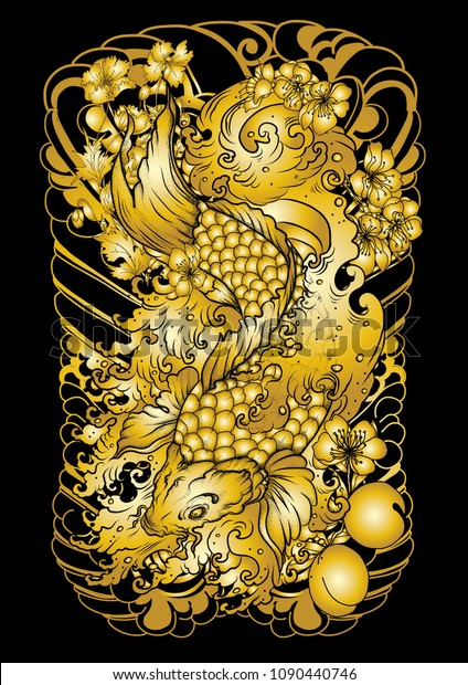 Gold Koi Fish Wallpaper Designjapanese Carp Stock Vector Royalty Free 1090440746