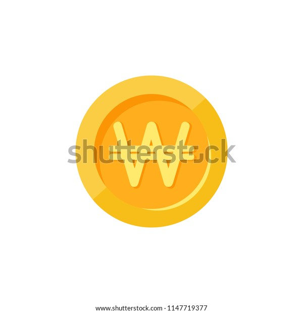 Gold korean won coin. Flat icon. Isolated on white. Economy, finance, money pictogram. Wealth symbol.  Vector illustration.