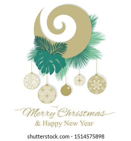Gold koru, Maory spiral shape symbol, with green tropical leaves and Christmas ornaments, vector greeting template