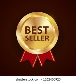 Gold Label Best Seller. Vector Illustration EPS10
