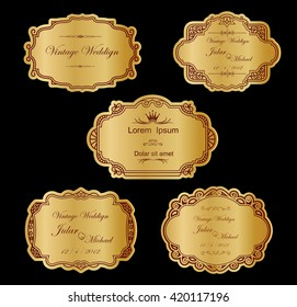 Gold Label cutout paper frames with flourish decoration,Vintage frame set on striped seamless background. Calligraphic design elements.