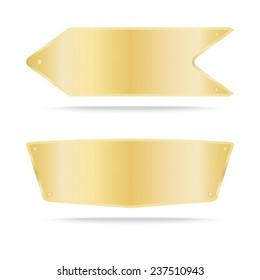 Gold label metal or Metallic gold name plate. Vector illustration