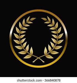 Gold labels award with laurel wreath on dark background.