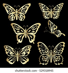 Gold Lace butterfly on black background. Vector illustration.