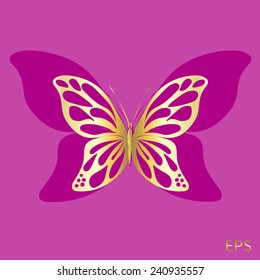 Gold Lace butterfly on purple background.  Abstract design. Vector illustration.
