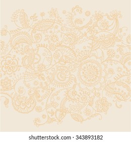 gold lase hand drawn vector background. elegant luxury hand-drawn line style pattern