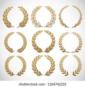 Gold laurel set vector