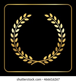 Gold laurel or wheat wreath icon, symbol of victory, achievement and grain, natural food. Golden design element for medals, awards, logo. Silhouette, isolated on black background. Vector illustration