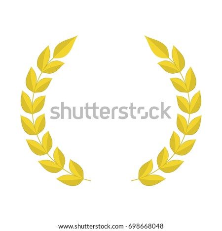 Gold Laurel Wreath Icon Template Design Stock Vector (Royalty Free ...