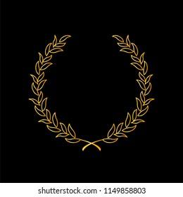 Gold laurel wreath on black background,depicting award,nobility, winning. Vector illustration.