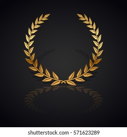 Gold laurel wreath with  shadow and reflection on black background.