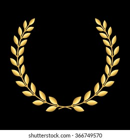 Gold laurel wreath. Symbol of victory and achievement. Design element for decoration of medal, award, coat of arms or anniversary logo. Golden leaf silhouette on black background. Vector illustration