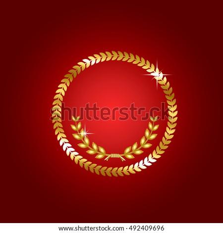 Gold Laurel Wreath Symbol Victory Achievement Stock Vector Royalty