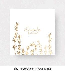 Gold lavenders. Vector elements for design template. Vector lavanders for cards, wedding invitation, posters, save the date or greeting design.