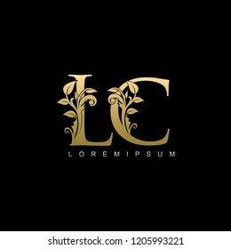 Gold LC Letter logo With Classy Floral Leaf Design