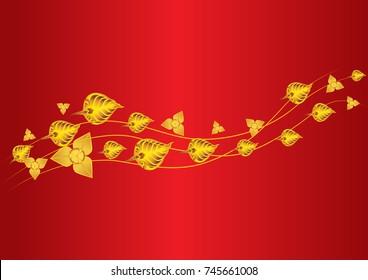 Gold leaf fly mesmerize and bo leaf thai leaf vector illustrator