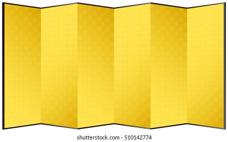 Gold leaf folding screen. Traditional Japanese crafts.
