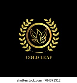 Gold Leaf Logo Vector Template Design