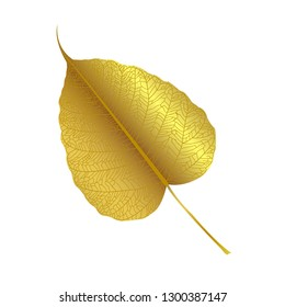 Gold leaves of Bodhi tree , Ficus religiosa or Sacred fig ,Symbols of Buddhism Vector Illustration.