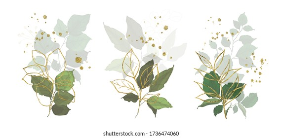 Gold leaves green tropical branch plants wedding bouquet with golden splatters isolated. Floral foliage vector illustration arrangement in watercolor style for wedding invitation card