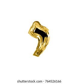 Gold letter Aleph of the Hebrew alphabet. The font of the golden letter is Hanukkah. vector illustration on isolated background.