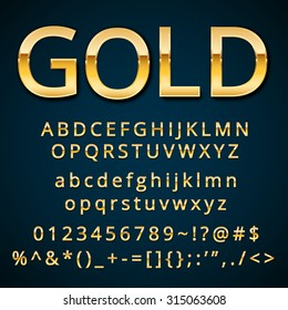 Gold letter, alphabetic fonts  with numbers and symbols. Vector EPS10