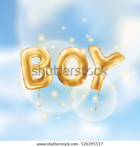 Gold Letter Boy Balloons Birthday Characters On Pink For Celebration Party